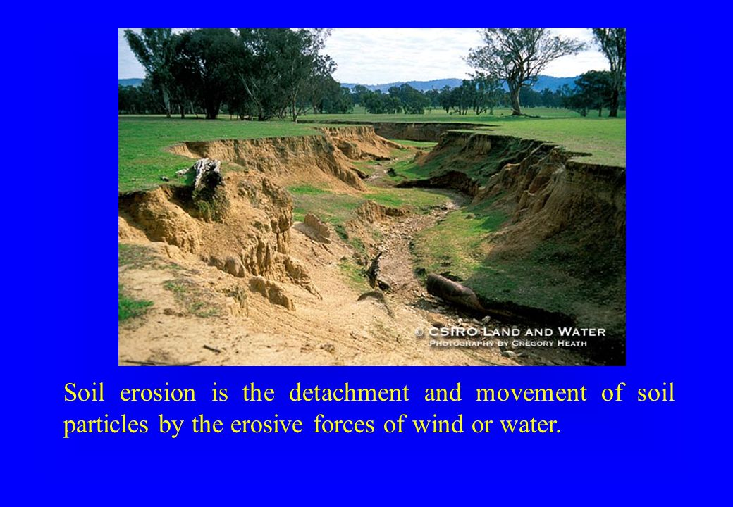 Soil erosion is the detachment and movement of soil particles by the erosive forces of wind or water.