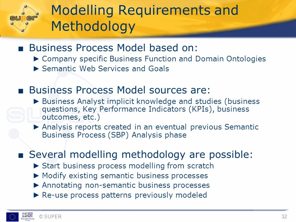 © SUPER32 Modelling Requirements and Methodology Business Process Model based on: Company specific Business Function and Domain Ontologies Semantic We