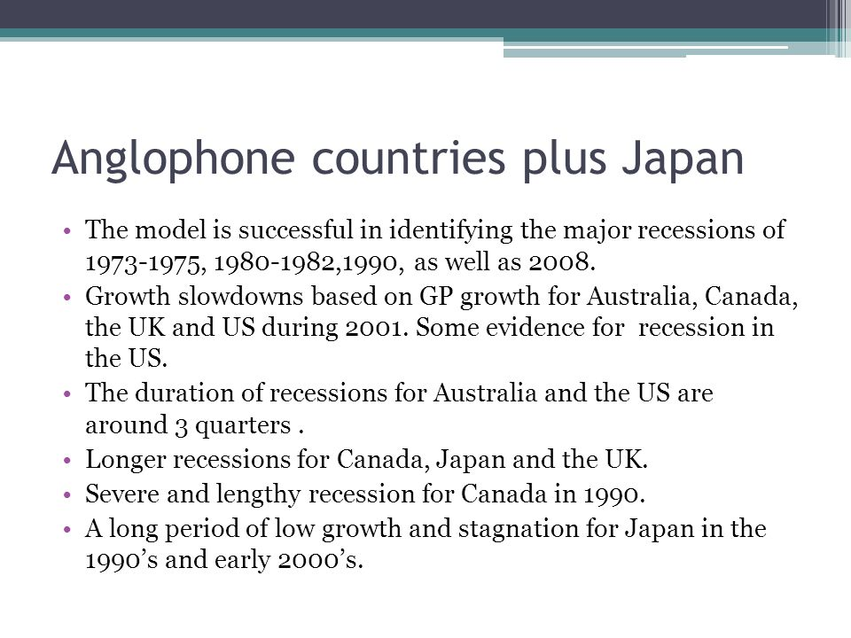 Anglophone countries plus Japan The model is successful in identifying the major recessions of 1973-1975, 1980-1982,1990, as well as 2008.