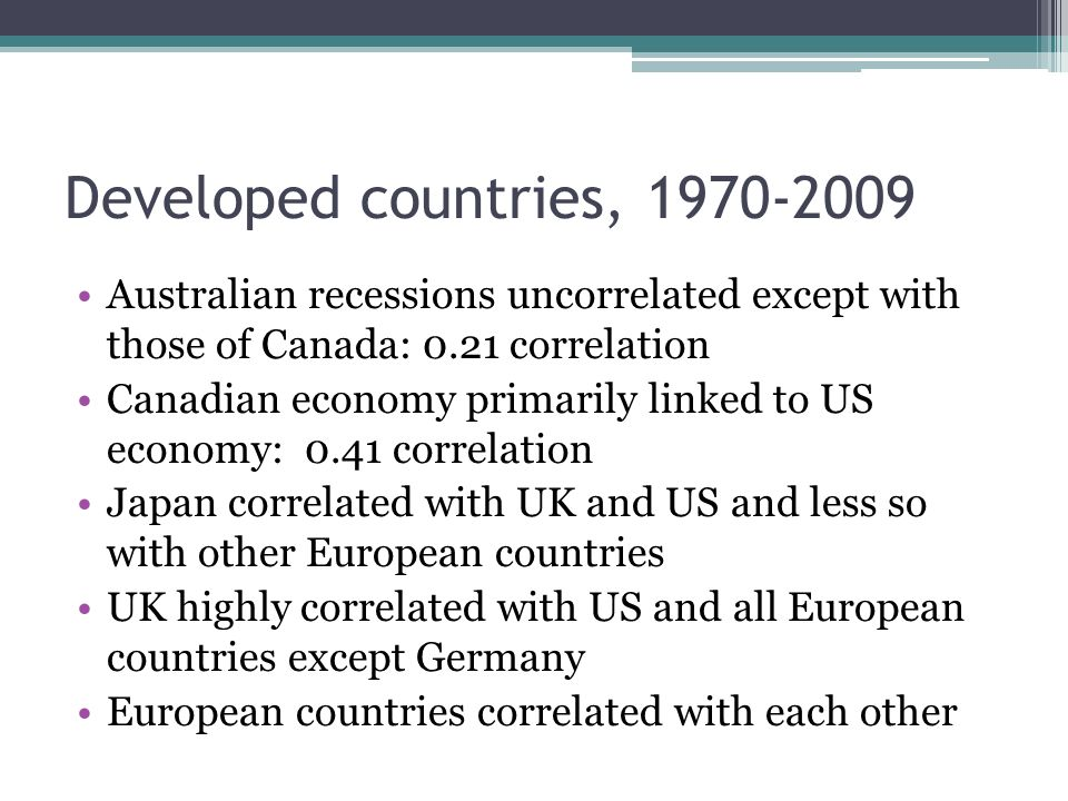 Developed countries, 1970-2009 Australian recessions uncorrelated except with those of Canada: 0.21 correlation Canadian economy primarily linked to US economy: 0.41 correlation Japan correlated with UK and US and less so with other European countries UK highly correlated with US and all European countries except Germany European countries correlated with each other