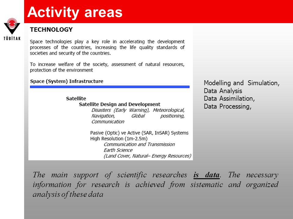 Activity areas The main support of scientific researches is data.