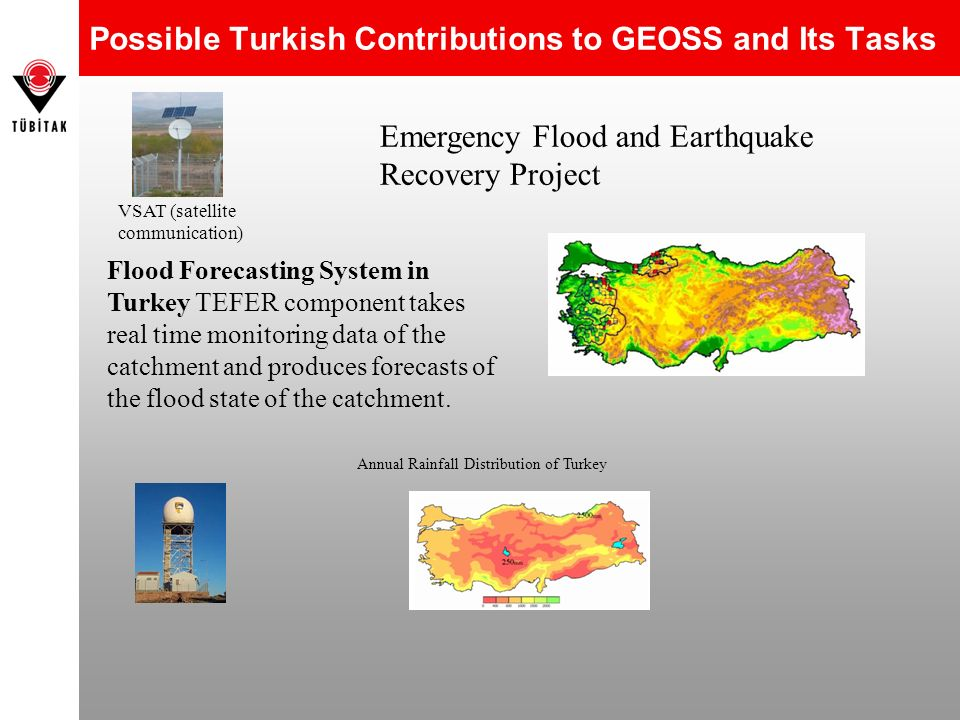 Possible Turkish Contributions to GEOSS and Its Tasks Flood Forecasting System in Turkey TEFER component takes real time monitoring data of the catchm