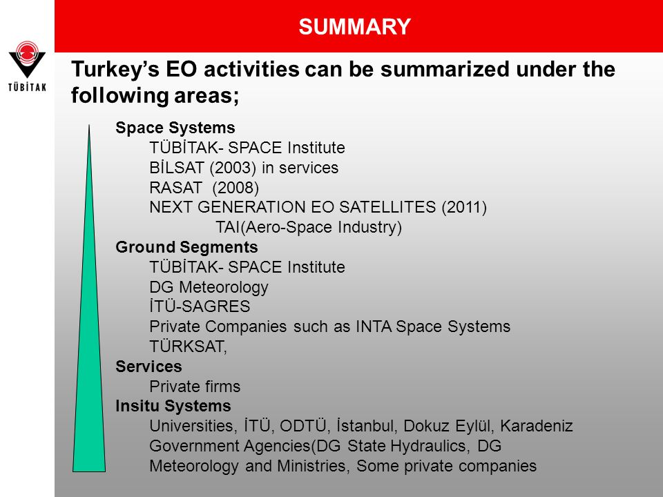 SUMMARY Space Systems TÜBİTAK- SPACE Institute BİLSAT (2003) in services RASAT (2008) NEXT GENERATION EO SATELLITES (2011) TAI(Aero-Space Industry) Gr