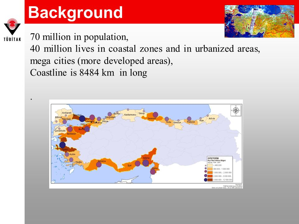 Background 70 million in population, 40 million lives in coastal zones and in urbanized areas, mega cities (more developed areas), Coastline is 8484 k