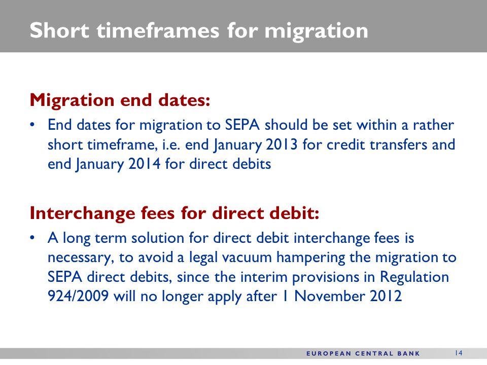 14 Short timeframes for migration Migration end dates: End dates for migration to SEPA should be set within a rather short timeframe, i.e.