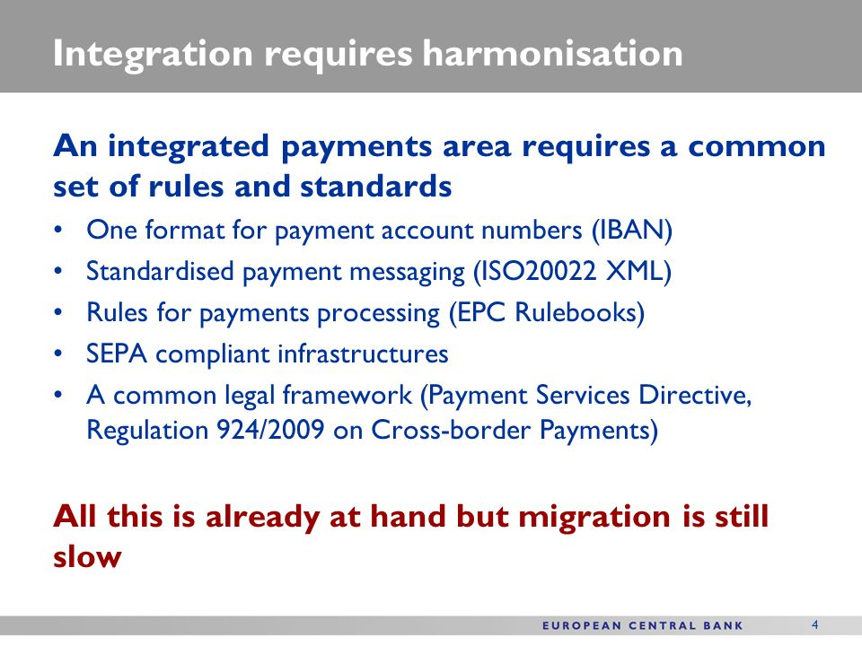 4 Integration requires harmonisation An integrated payments area requires a common set of rules and standards One format for payment account numbers (