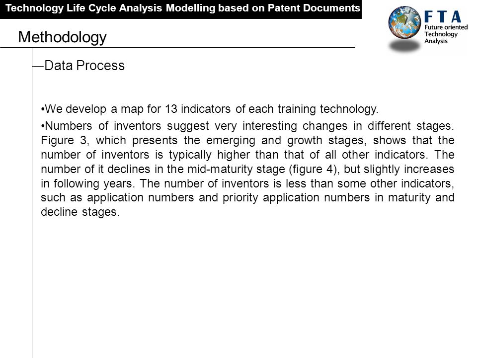 Technology Life Cycle Analysis Modelling based on Patent Documents Methodology Data Process We develop a map for 13 indicators of each training techno