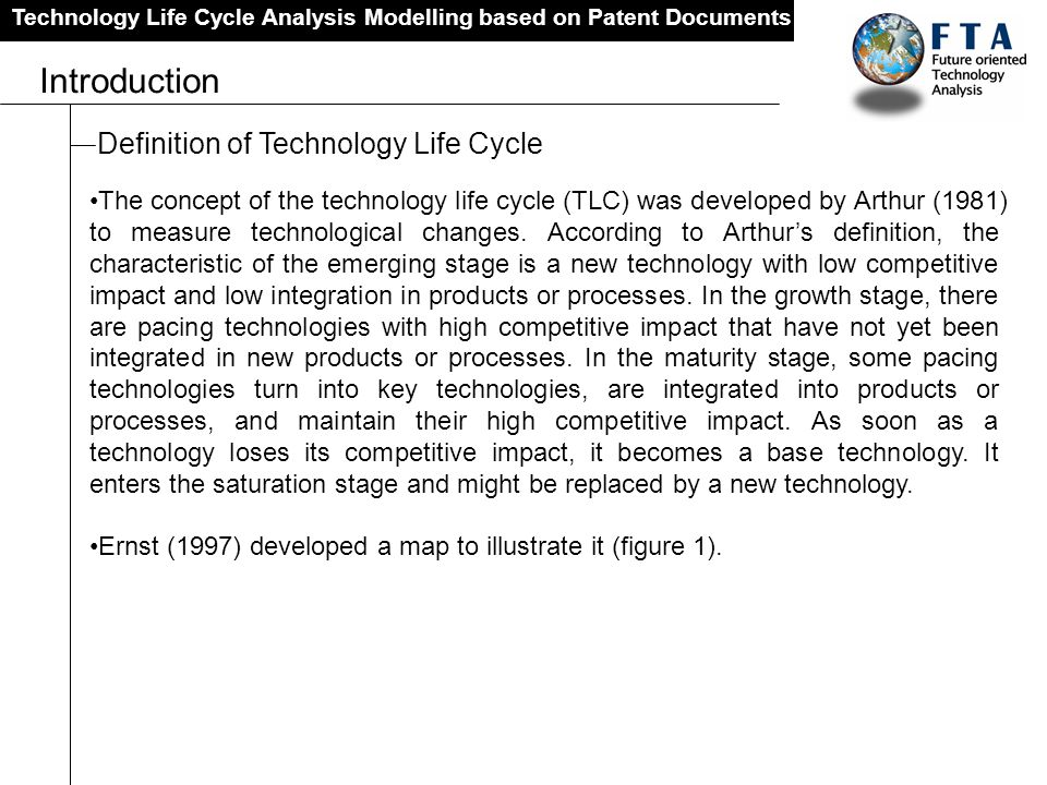 Technology Life Cycle Analysis Modelling based on Patent Documents Introduction Definition of Technology Life Cycle The concept of the technology life