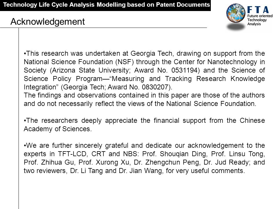 Technology Life Cycle Analysis Modelling based on Patent Documents Acknowledgement This research was undertaken at Georgia Tech, drawing on support fr