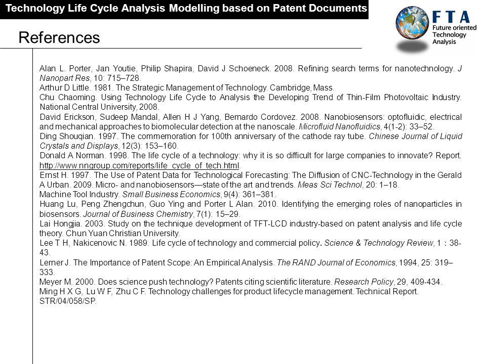 Technology Life Cycle Analysis Modelling based on Patent Documents References Alan L. Porter, Jan Youtie, Philip Shapira, David J Schoeneck. 2008. Ref