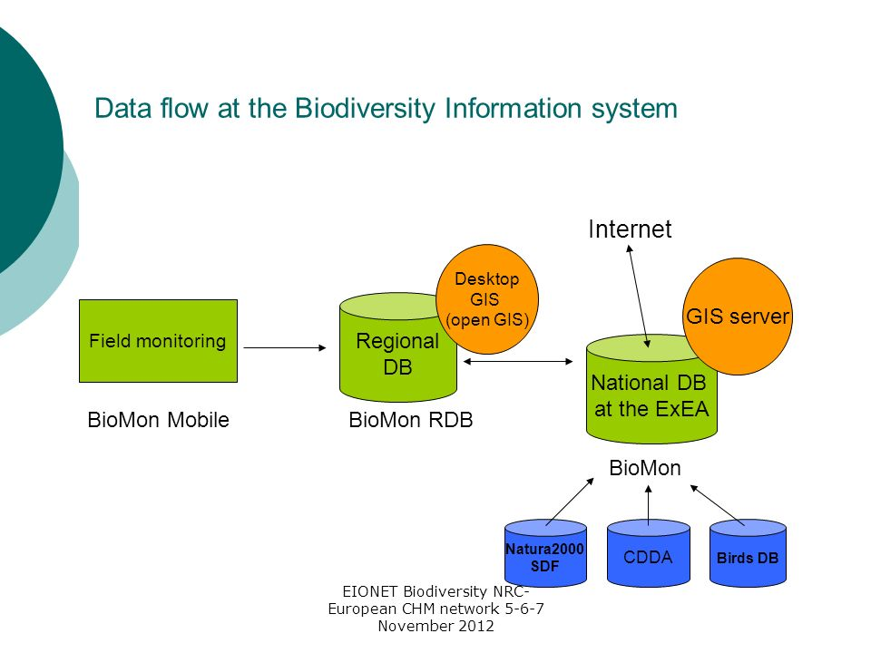 EIONET Biodiversity NRC- European CHM network 5-6-7 November 2012 Data flow at the Biodiversity Information system Field monitoring Regional DB National DB at the ExEA GIS server Desktop GIS (open GIS) BioMon MobileBioMon RDB BioMon Natura2000 SDF CDDA Birds DB Internet