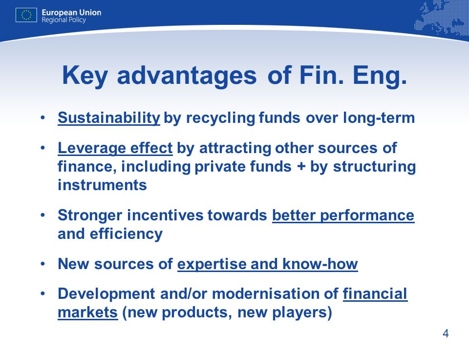 4 Key advantages of Fin. Eng. Sustainability by recycling funds over long-term Leverage effect by attracting other sources of finance, including priva