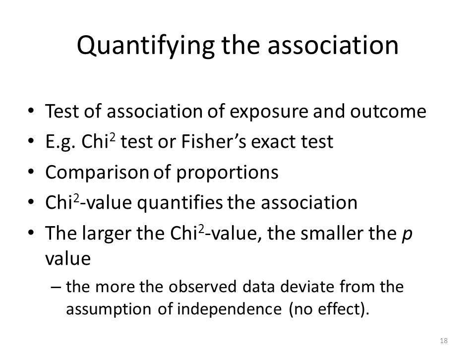 Quantifying the association Test of association of exposure and outcome E.g. Chi 2 test or Fishers exact test Comparison of proportions Chi 2 -value q
