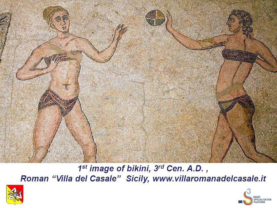 1 st image of bikini, 3 rd Cen. A.D., Roman Villa del Casale Sicily, www.villaromanadelcasale.it