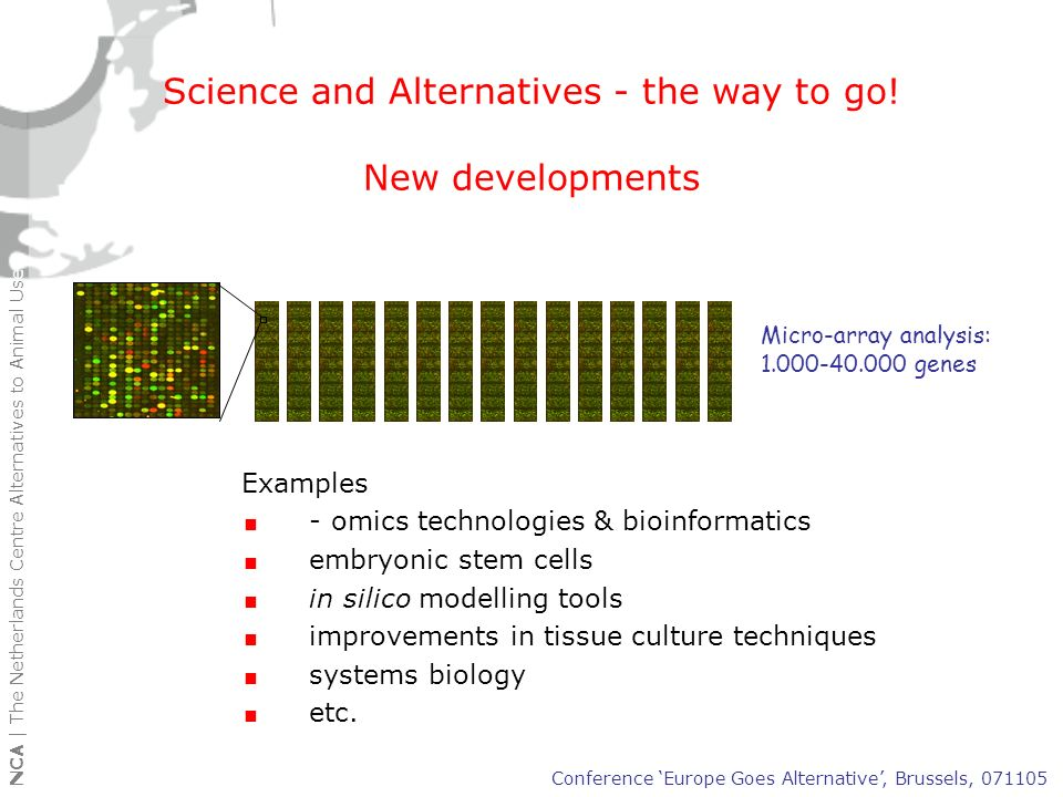 NCA | The Netherlands Centre Alternatives to Animal Use Paradigm shift in science and regulatory testing: from what to why (3) Conclusion: Future will give a shift in research and regulatory testing paradigms: non-animal models will increasingly being used to generate answers to the why questions (mechanistic info) while the animal model will be used to verify and confirm data from non-animal studies Conference Europe Goes Alternative, Brussels, 071105 Past/ present Future R & D start End of research objective
