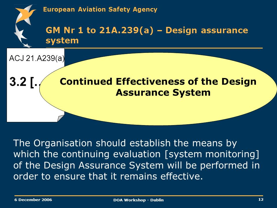 European Aviation Safety Agency 12 6 December 2006 DOA Workshop - Dublin ACJ 21.A239(a) 3.2 […] GM Nr 1 to 21A.239(a) – Design assurance system Contin