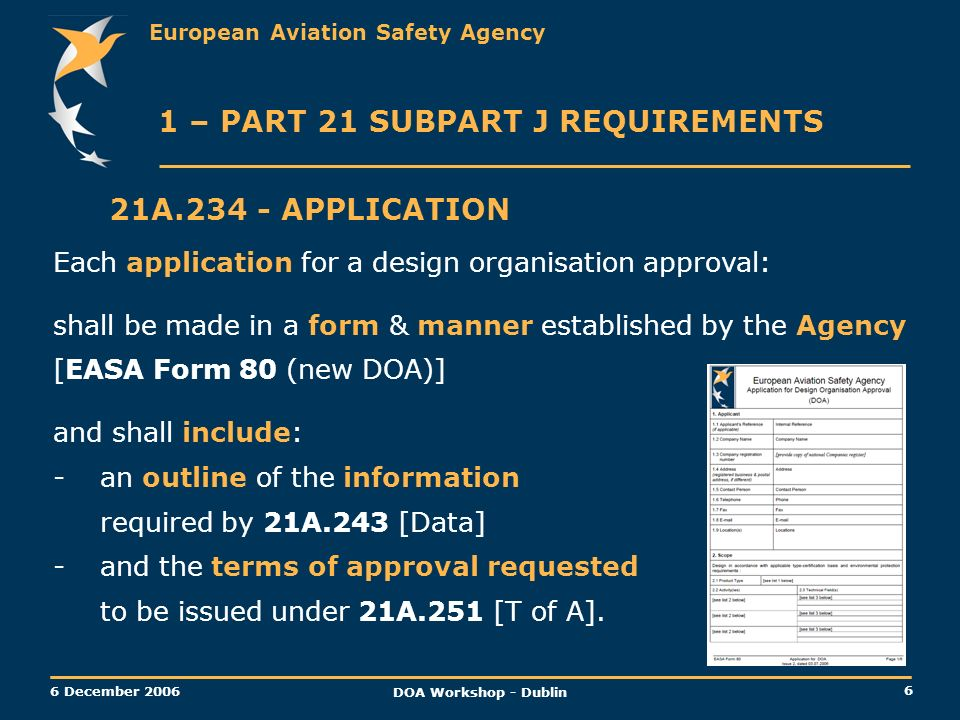 European Aviation Safety Agency 6 6 December 2006 DOA Workshop - Dublin 21A.234 - APPLICATION 1 – PART 21 SUBPART J REQUIREMENTS Each application for