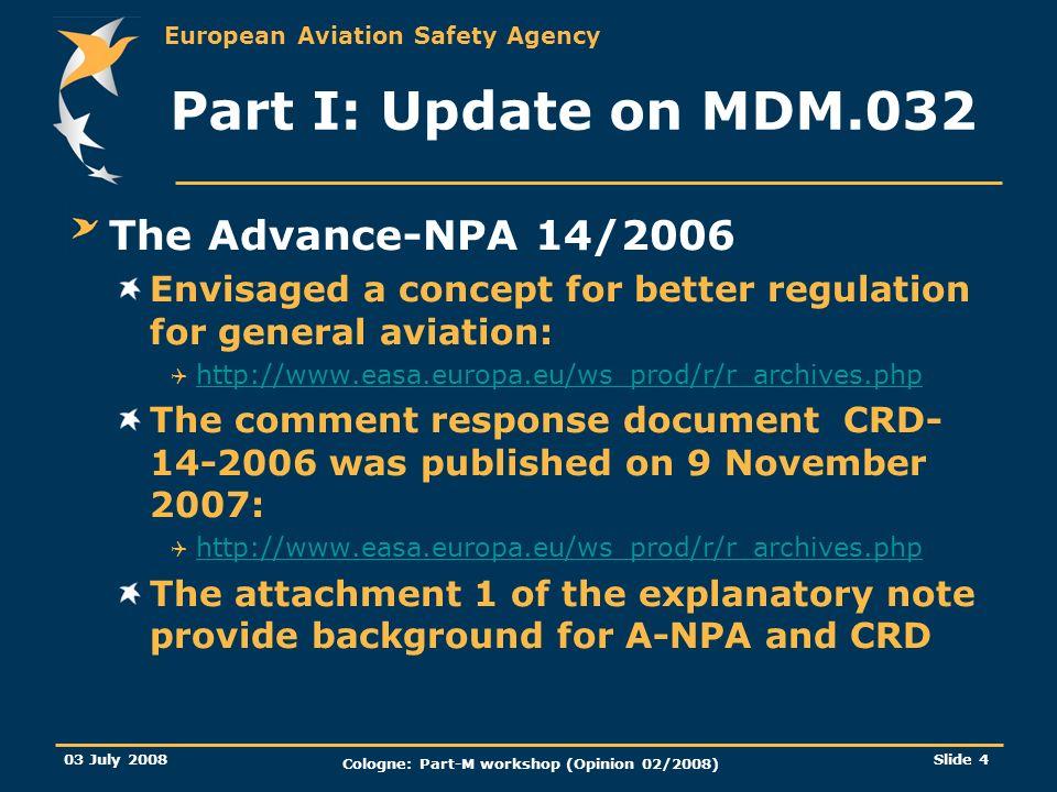 European Aviation Safety Agency 03 July 2008 Cologne: Part-M workshop (Opinion 02/2008) Slide 4 Part I: Update on MDM.032 The Advance-NPA 14/2006 Envi