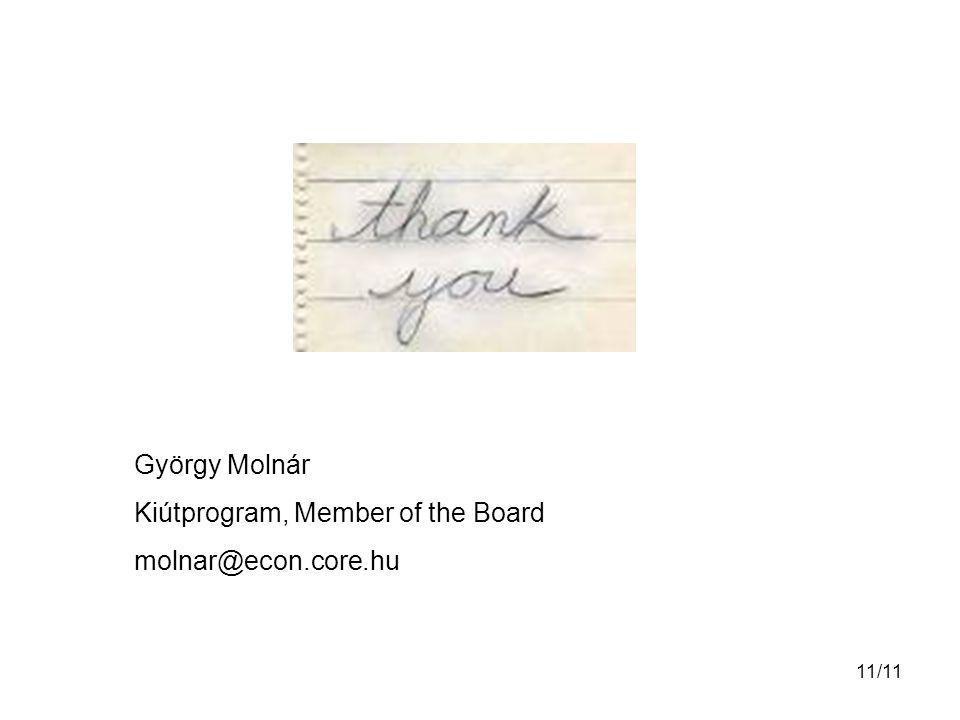 11/11 György Molnár Kiútprogram, Member of the Board molnar@econ.core.hu