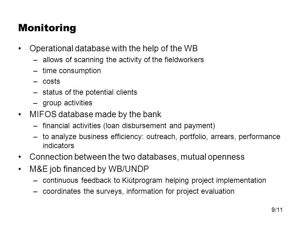 9/11 Monitoring Operational database with the help of the WB –allows of scanning the activity of the fieldworkers –time consumption –costs –status of