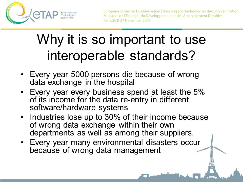 Why it is so important to use interoperable standards? Every year 5000 persons die because of wrong data exchange in the hospital Every year every bus