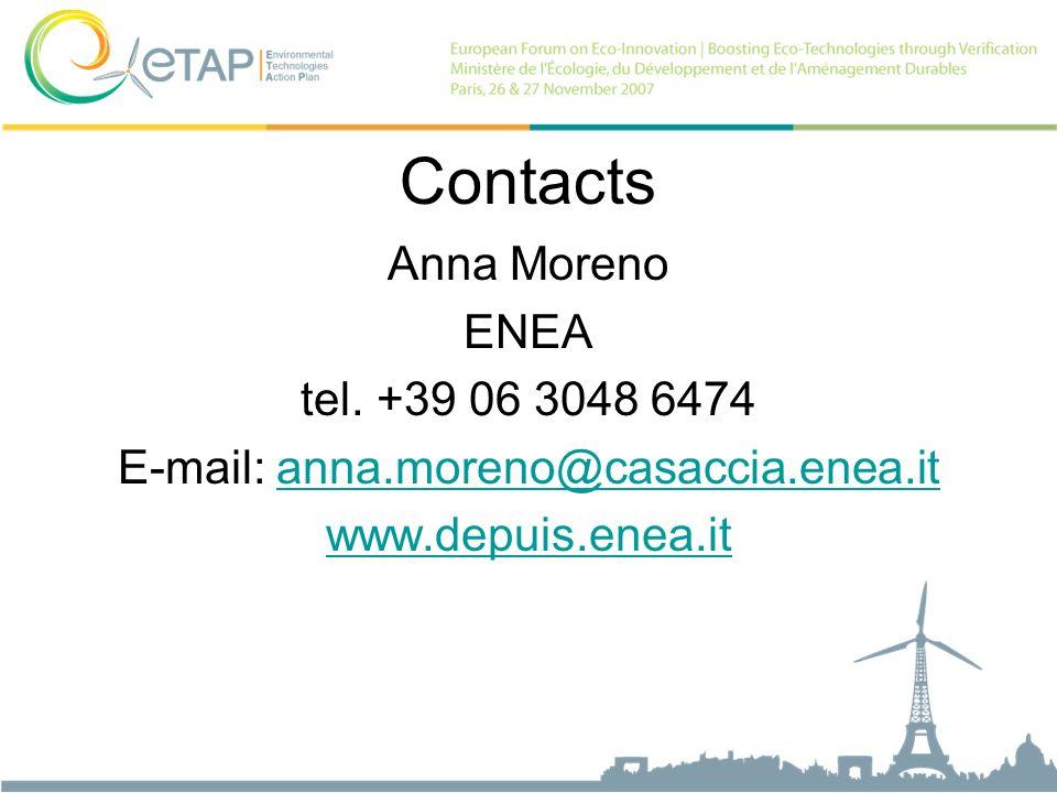Contacts Anna Moreno ENEA tel. +39 06 3048 6474 E-mail: anna.moreno@casaccia.enea.itanna.moreno@casaccia.enea.it www.depuis.enea.it