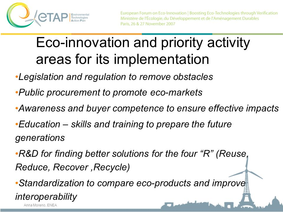 Eco-innovation and priority activity areas for its implementation Legislation and regulation to remove obstacles Public procurement to promote eco-mar