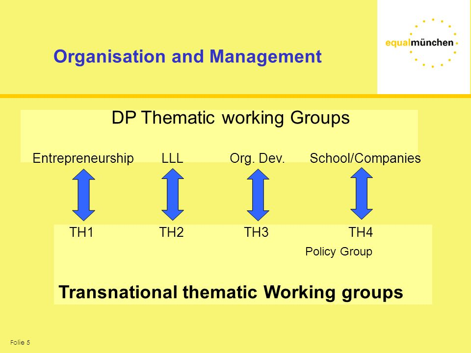 Folie 5 Organisation and Management DP Thematic working Groups Entrepreneurship LLL Org. Dev. School/Companies TH1 TH2 TH3 TH4 Policy Group Transnatio