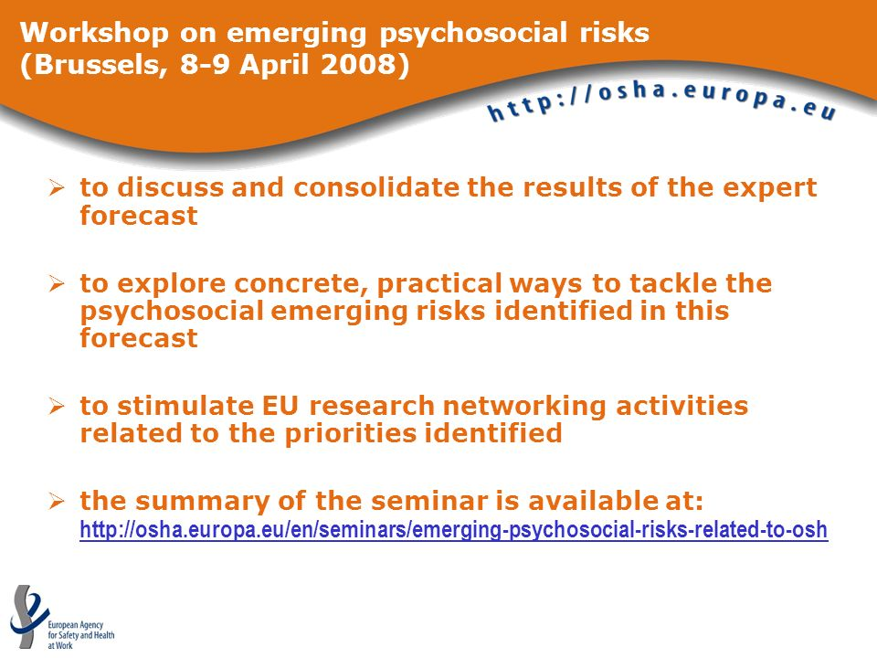 to discuss and consolidate the results of the expert forecast to explore concrete, practical ways to tackle the psychosocial emerging risks identified