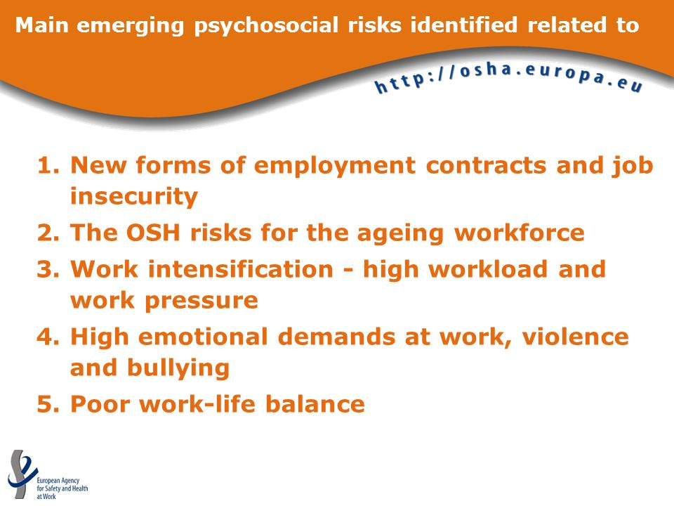 Main emerging psychosocial risks identified related to 1.New forms of employment contracts and job insecurity 2.The OSH risks for the ageing workforce
