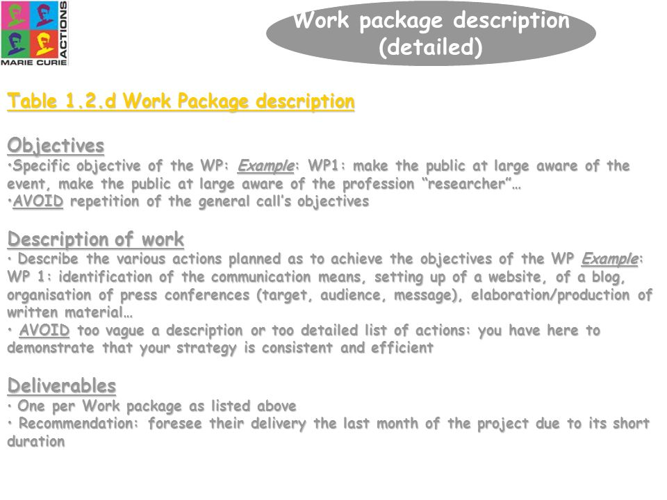 51 Table 1.2.d Work Package description Objectives Specific objective of the WP: Example: WP1: make the public at large aware of the event, make the p