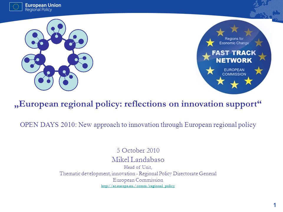 2 1.Article 5 of the ERDF 2007-13: earmarking and mainstreaming innovation 2.Reflections on regional attractiveness in the knowledge-based economy 3.Conclusions: lessons from 20 years … the most important job for economic policy is to create an institutional environment that supports technological change.