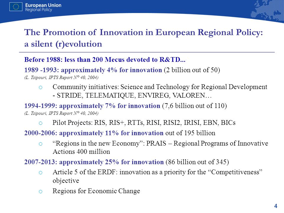 4 The Promotion of Innovation in European Regional Policy: a silent (r)evolution Before 1988: less than 200 Mecus devoted to R&TD...