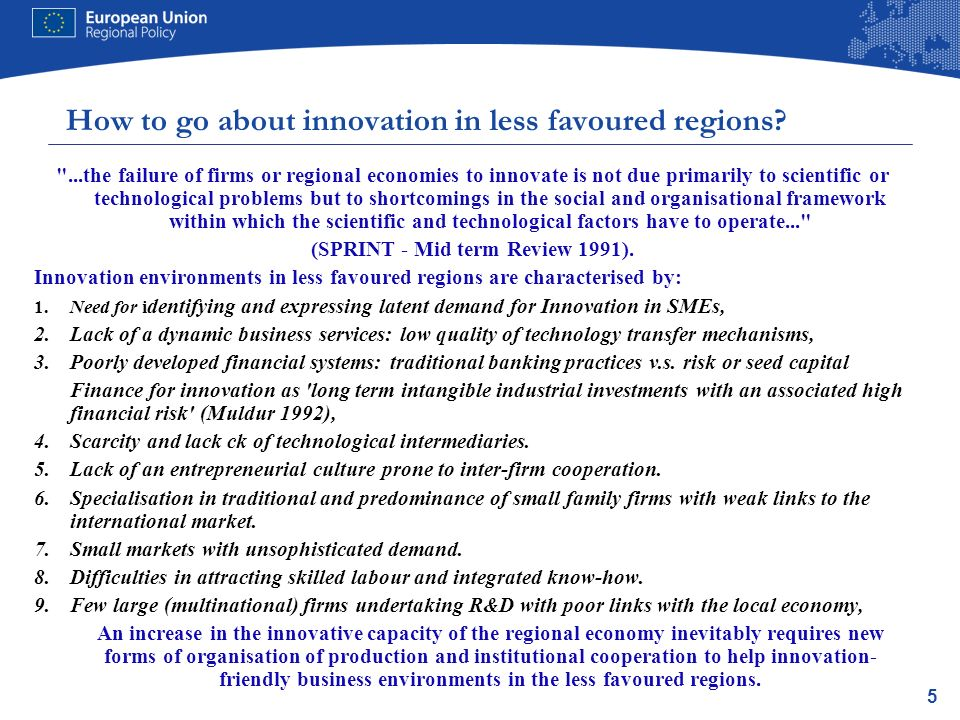 6 What innovation measures regions choose themselves: the foundations of article 5 of the ERDF 2007-13.