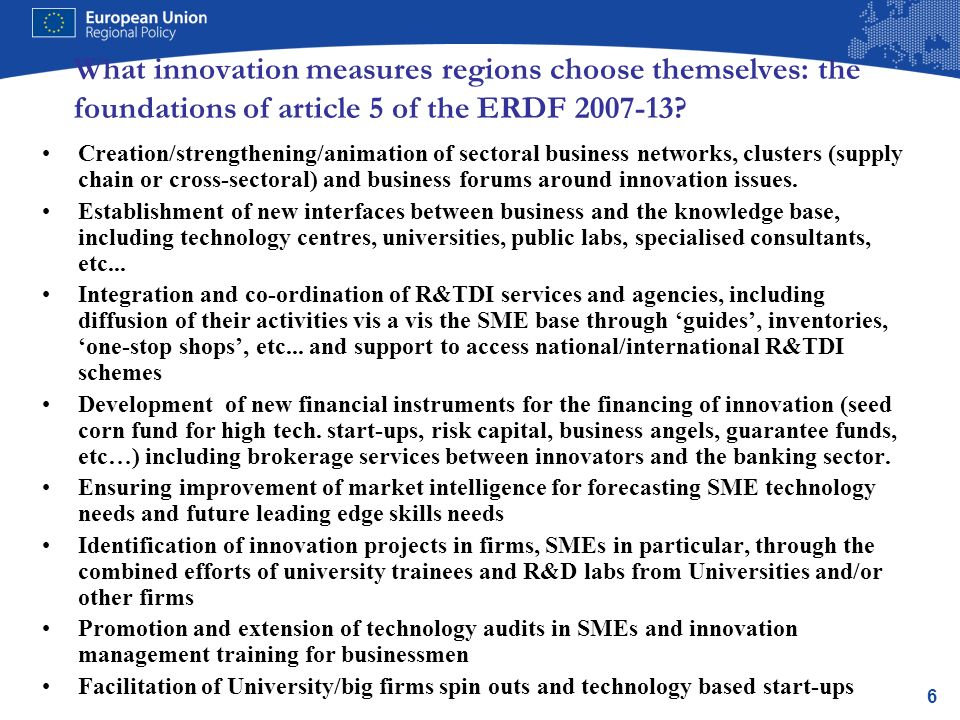 6 What innovation measures regions choose themselves: the foundations of article 5 of the ERDF