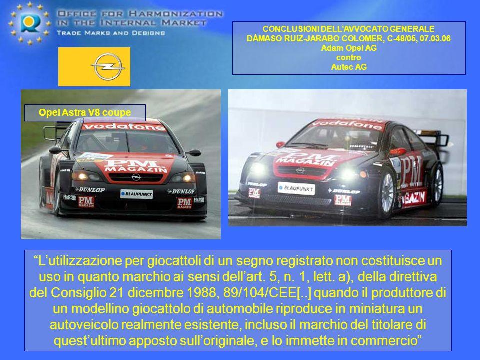 CONCLUSIONI DELLAVVOCATO GENERALE DÁMASO RUIZ-JARABO COLOMER, C-48/05, 07.03.06 Adam Opel AG contro Autec AG Lutilizzazione per giocattoli di un segno