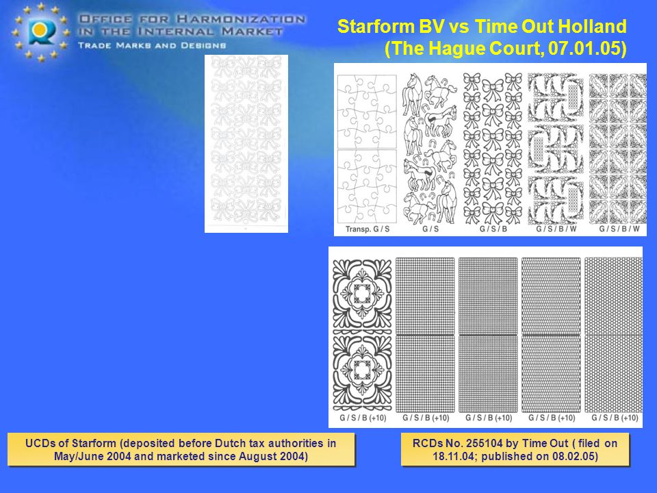 UCDs of Starform (deposited before Dutch tax authorities in May/June 2004 and marketed since August 2004) Starform BV vs Time Out Holland (The Hague Court, ) RCDs No.