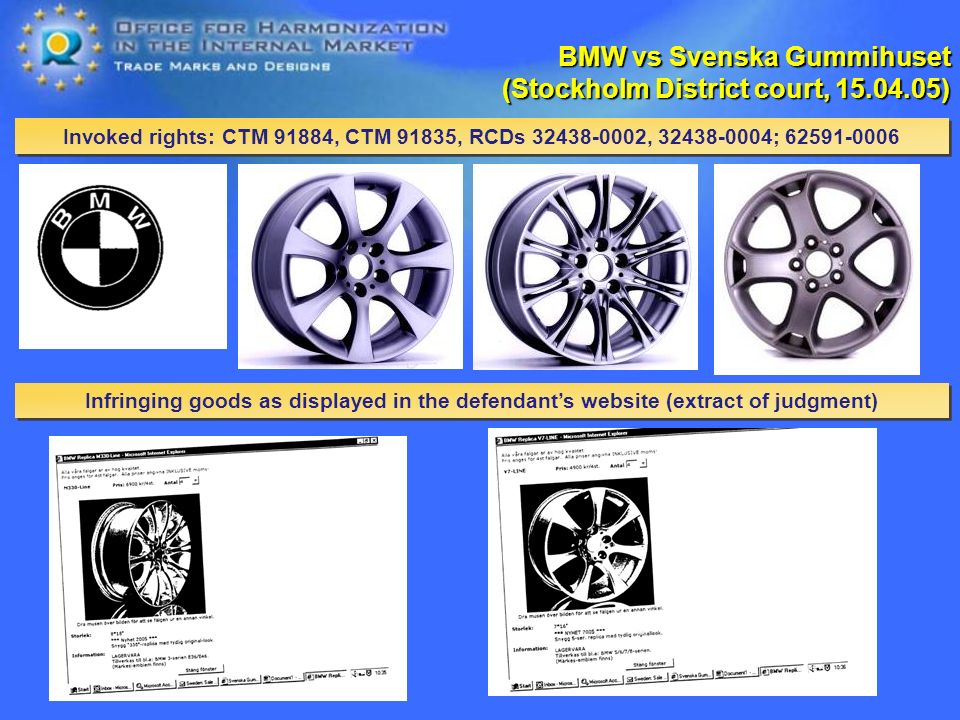 Invoked rights: CTM 91884, CTM 91835, RCDs , ; BMW vs Svenska Gummihuset (Stockholm District court, ) Infringing goods as displayed in the defendants website (extract of judgment)