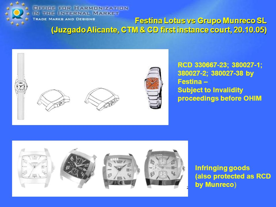 Festina Lotus vs Grupo Munreco SL (Juzgado Alicante, CTM & CD first instance court, ) RCD ; ; ; by Festina – Subject to Invalidity proceedings before OHIM Infringing goods (also protected as RCD by Munreco)