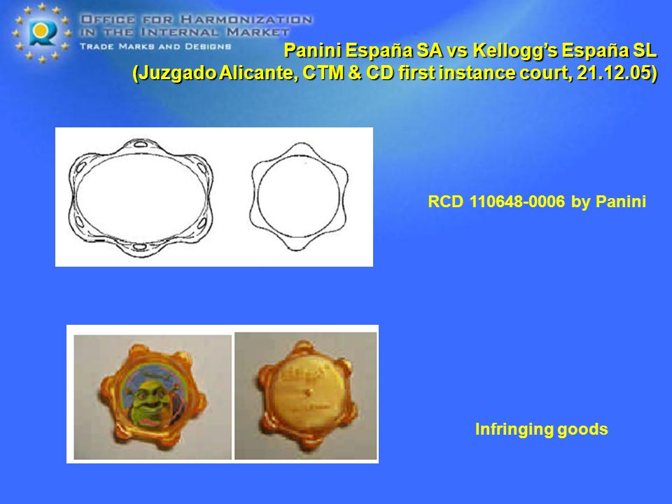 Panini España SA vs Kelloggs España SL (Juzgado Alicante, CTM & CD first instance court, ) RCD by Panini Infringing goods