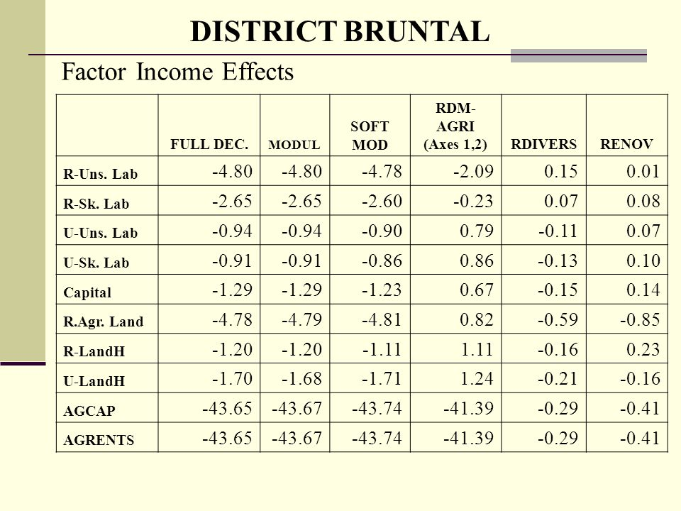 DISTRICT BRUNTAL Factor Income Effects FULL DEC.