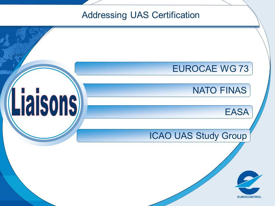 NATO FINAS EASA Addressing UAS Certification EUROCAE WG 73 ICAO UAS Study Group