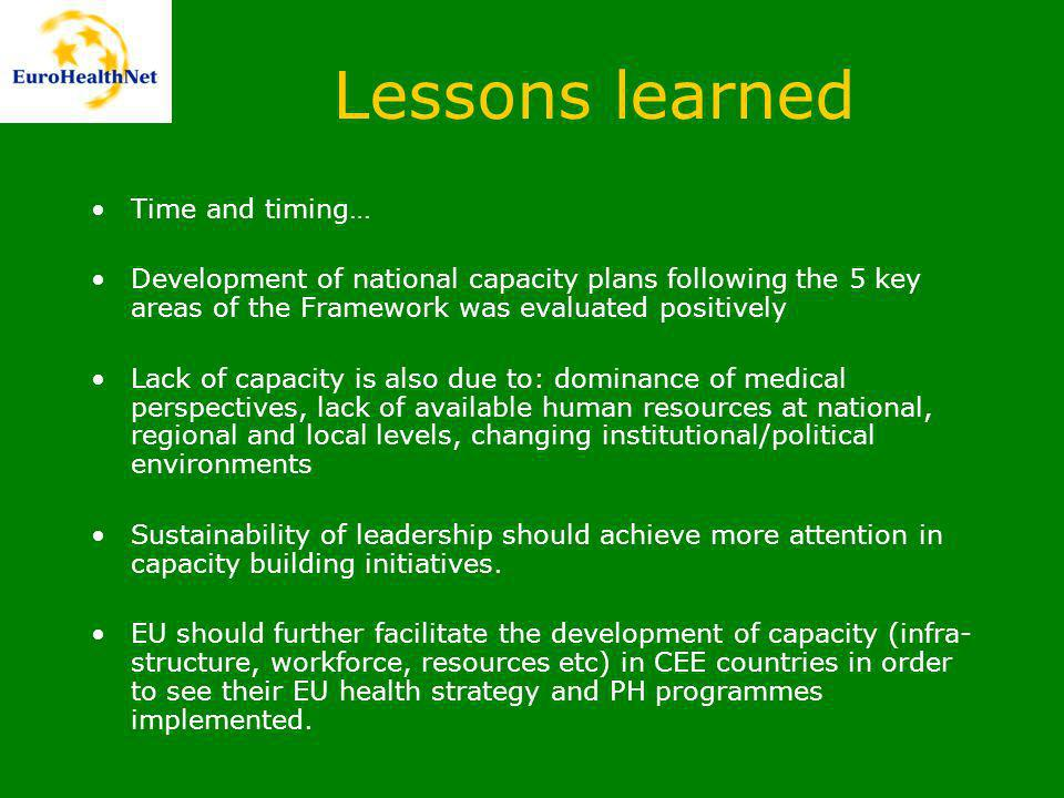 Lessons learned Time and timing… Development of national capacity plans following the 5 key areas of the Framework was evaluated positively Lack of capacity is also due to: dominance of medical perspectives, lack of available human resources at national, regional and local levels, changing institutional/political environments Sustainability of leadership should achieve more attention in capacity building initiatives.