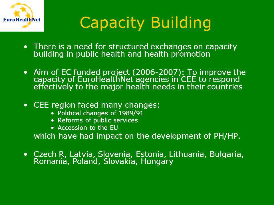 Capacity Building There is a need for structured exchanges on capacity building in public health and health promotion Aim of EC funded project ( ): To improve the capacity of EuroHealthNet agencies in CEE to respond effectively to the major health needs in their countries CEE region faced many changes: Political changes of 1989/91 Reforms of public services Accession to the EU which have had impact on the development of PH/HP.