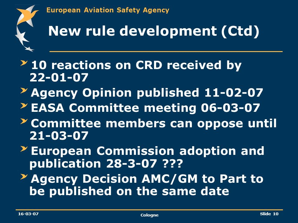 European Aviation Safety Agency 16-03-07 Cologne Slide 10 New rule development (Ctd) 10 reactions on CRD received by 22-01-07 Agency Opinion published
