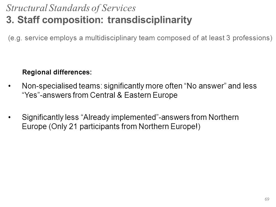 69 Structural Standards of Services 3. Staff composition: transdisciplinarity (e.g.
