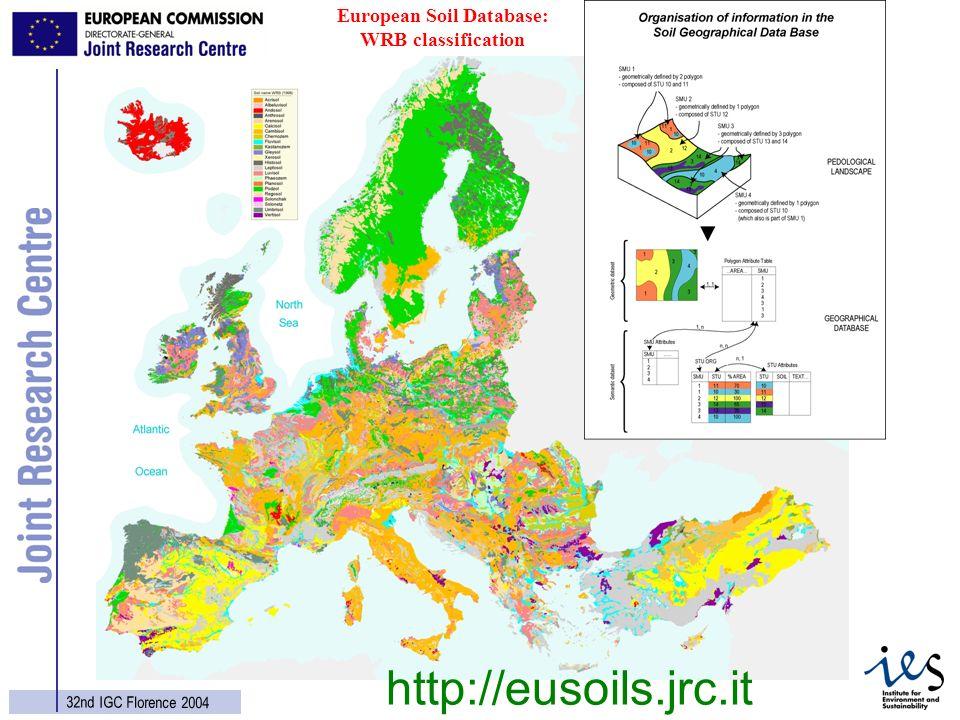 3 32nd IGC Florence 2004 European Soil Database: WRB classification http://eusoils.jrc.it