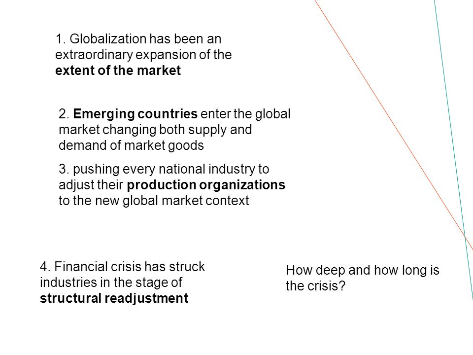 1. Globalization has been an extraordinary expansion of the extent of the market 2. Emerging countries enter the global market changing both supply an