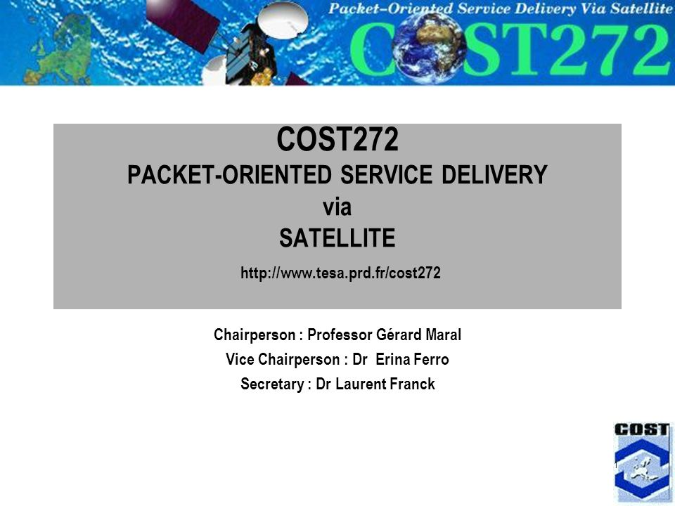 1 COST272 PACKET-ORIENTED SERVICE DELIVERY via SATELLITE   Chairperson : Professor Gérard Maral Vice Chairperson : Dr Erina Ferro Secretary : Dr Laurent Franck