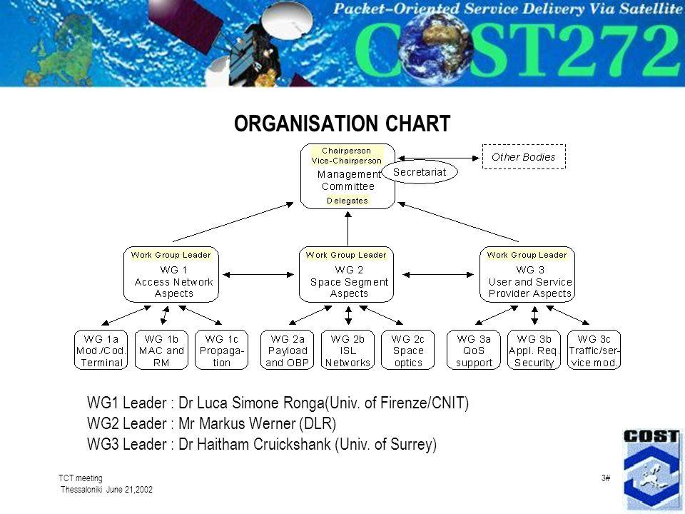 TCT meeting Thessaloniki June 21,2002 3# ORGANISATION CHART WG1 Leader : Dr Luca Simone Ronga(Univ. of Firenze/CNIT) WG2 Leader : Mr Markus Werner (DL